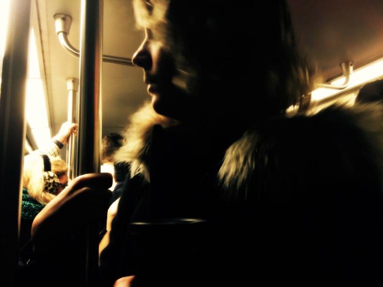 Profile of a Metro rider.